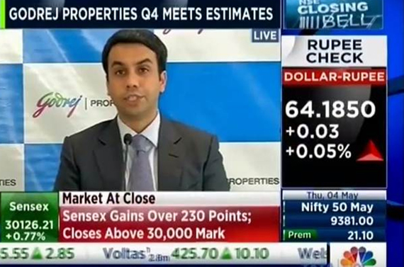 CNBC NSE Closing Bell 04 May 2017 04min 51sec Mr Pirojsha Godrej MD and CEO Godrej Properties Q4