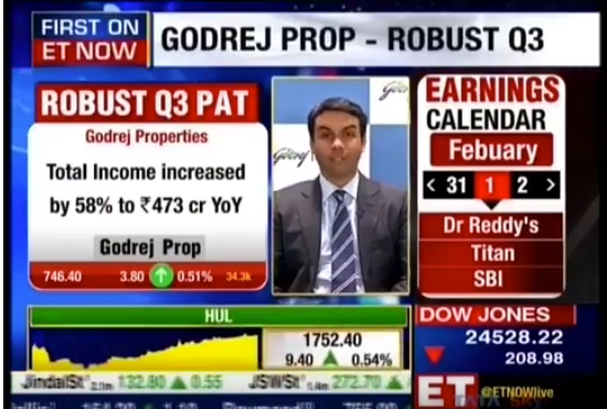 ET Now Earnings With Mr Pirojsha Godrej Executive Chairman Godrej Properties Q3 Earnings