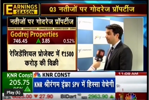 CNBC Awaaz Sauda Aapka with Mr Pirojsha Godrej  Executive Chairman Godrej Properties