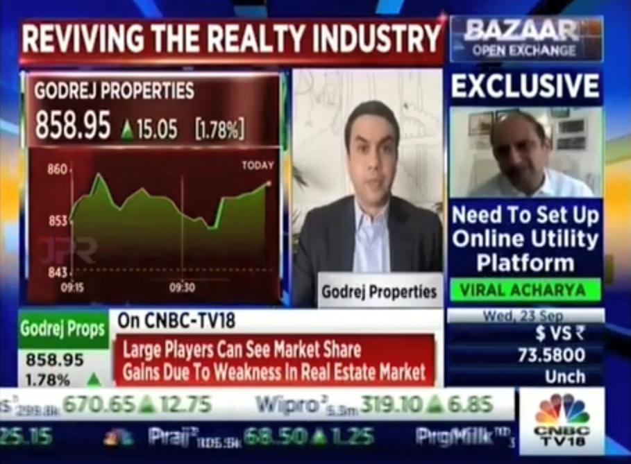 CNBC TV18 Bazaar Corporate Radar with Mr Pirojsha Godrej Executive Chairman Godrej Properties